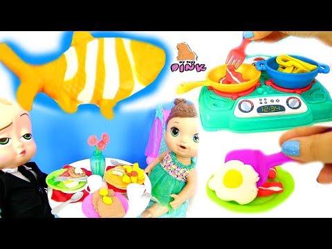 Play Doh Food Kitchen Set ЗАВТРАК ДЛЯ БОССА МОЛОКОСОСА ИЗ ПЛАСТИЛИНА ПЛЕЙ ДО | Май Тойс Пинк