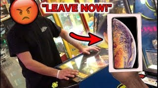 KICKED OUT BY CRAZY MANAGER FOR WINNING Apple iPhone XS!! | JOYSTICK