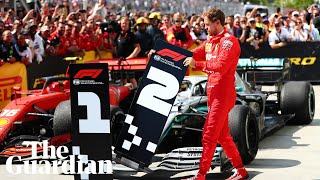 Sebastian Vettel moves No 1 board away from Hamilton's car after losing Canadian GP