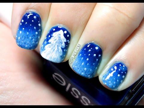 White Christmas tree nail art