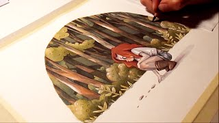 "Watercolor illustration ""traces"" timelapse work in progress painting drawing art by Iraville"
