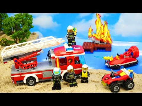 #LEGO Super set of a fire equipment. Cars for kids: Fire truck, ATV, hovercraft. English. 66541