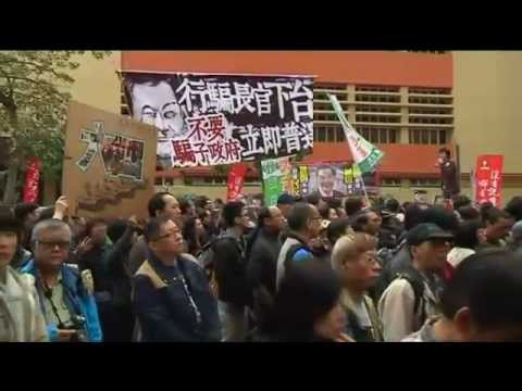 Leader Leung Chun-ying Faces Protest From Thousands in Hong Kong