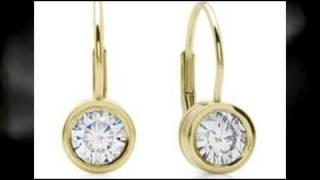 Moissanite 14k Yellow Gold Bezel-Set Lever Back Earrings