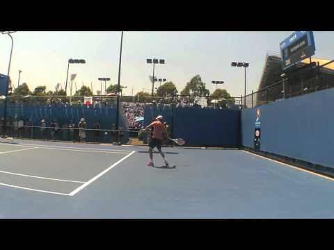 Dimitrov Practicing at the Aussie Open 2014