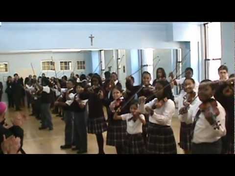 Cardinal Dolan Visit to Mt. Carmel-Holy Rosary School: Honors Violin Performs Joyful Joyful.MPG