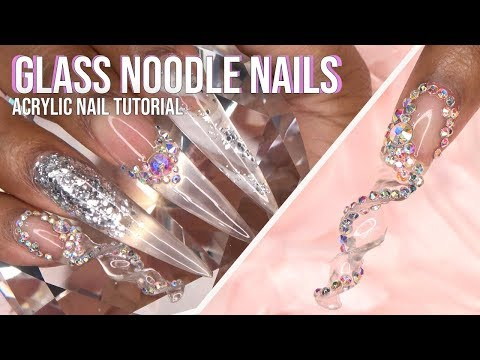 Glass Noodle Nails with Bling | Acrylic Nail Tutorial | LongHairPrettyNails