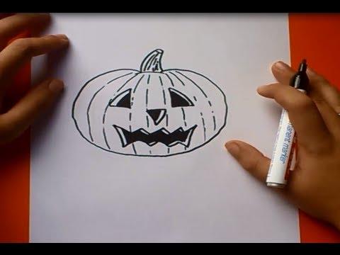 Como dibujar una calabaza paso a paso how to draw a - Hacer calabaza halloween ...