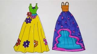 Girls Dresses Drawing And Coloring For Kids | Summer Fashion Illustration Flower Dresses