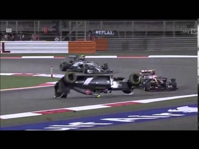 Pastor Maldonado provoca accidente en el GP Bahrein 2014 contra Esteban Gutierrez