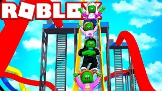 Zombie Roblox Family | Riding The Biggest Slide At The Waterpark!