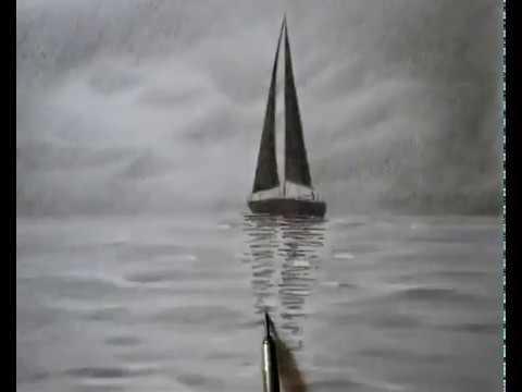 Deniz Manzaralı Çizim  Deniz ve Yelken çizimi