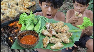 Primitive Technology - Awesome Cooking Chicken On A Rock - Eating Delicious