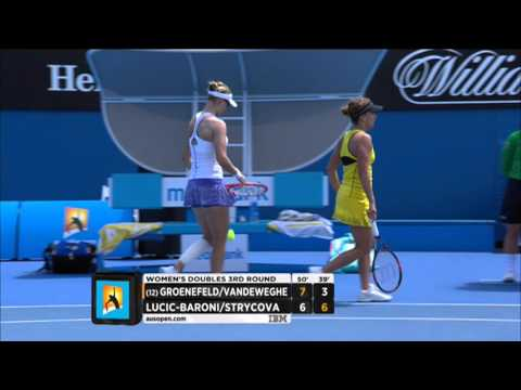 Groenefeld/Vandeweghe v Lucic-Baroni/Strycova highlights (3R) | Australian Open 2015