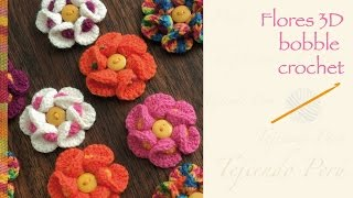 Flores 3D bobble crochet / English subtitles: Bobble crochet 3D flower