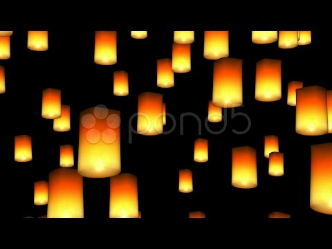 Floating Asian Lanterns - Seamless Loop, Alpha Channel Included. Stock Footage