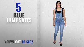 Top 10 Blue Jumpsuits [2018]: FNocks Women Girls Ladies Slim Fit Denim Casual Dungaree
