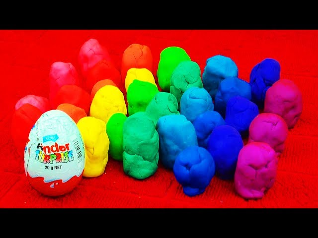 30 Surprise Eggs! Play Doh Kinder Surprise Toy Story Disney Cars Marvel Spiderman Batman LPS Rainbow