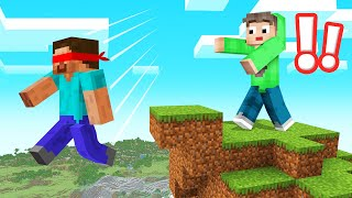 Playing MINECRAFT Wearing A BLINDFOLD! (Dangerous)