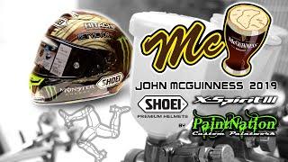 John McGuinness 2019 custom painted Shoei Xspirit 3 helmet.