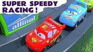 Cars Lightning McQueen races with other Cars Vehicles and Hot Wheels superheros TT4U