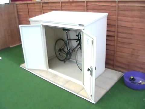 bike storage box plastic plastic bicycle storage box how. Black Bedroom Furniture Sets. Home Design Ideas