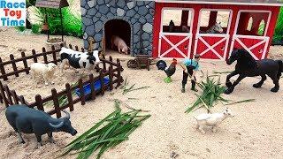 Farm Animals Toys in the Sandbox - Fun Toys For Kids