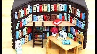 Chocolate Miniature Library Cake with Miniature Books & Toys - How To Make