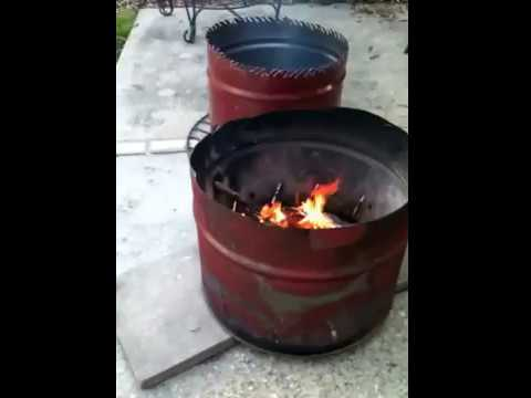 55 gallon drum firepits-mini burn barrels - YouTube