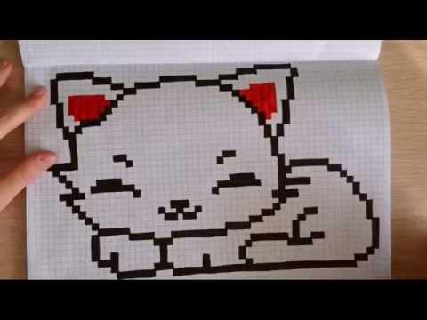 Рисовать кошку на клетках