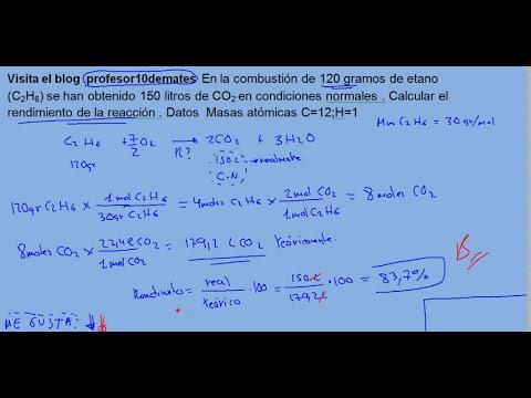 Reacciones químicas  con rendimiento de la reacción 06 ejercicio
