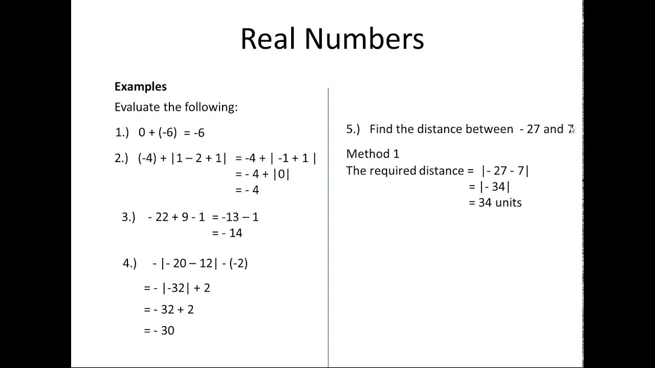 Division of Real Numbers of Real Numbers Integers