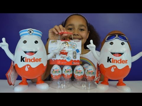 2 Giant Kinder Surprise Character Eggs   Kinder Surprise Toy Opening   Candy & Sweets Review