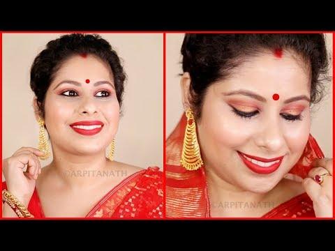 Indian Traditional Bengali Red & Gold Makeup Tutorial || Durga Puja 2017