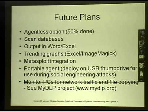 ShmooCon 2011: Stealing Sensitive Data from Thousands of Systems Simultaneously with OpenDLP
