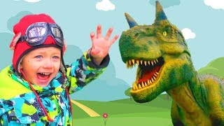 Leo plays with Dinosaurs!  Kids adventure in the Dino park.  Video for children