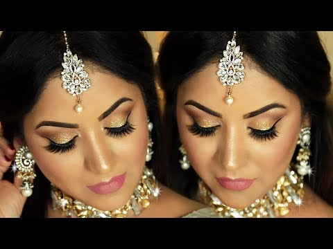 EID Makeup Look 2018 l Gold Glitter Eyes