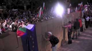 "#ДАНСwithme Day 33: Demolishing the ""Berlin Wall"" infront of the German embassy in Sofia"