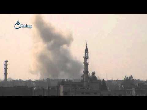 Qasioun News: Homs: Regime warplanes launch airstrikes over Talbeesa city 13-2-2016