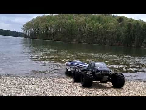 RC Boat and Trailer Launch. Traxxas E-Maxx and Traxxas Spartan