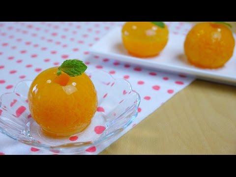 Mandarin Orange Raindrop Cake 丸ごとみかんゼリー あるいはミカン入り水信玄餅