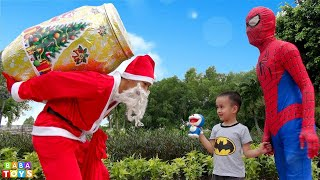 Learn Colors For Kids With GIANT CHRISTMAS EGG SURPRISE OPENING -  Baby and Santa Claus funny