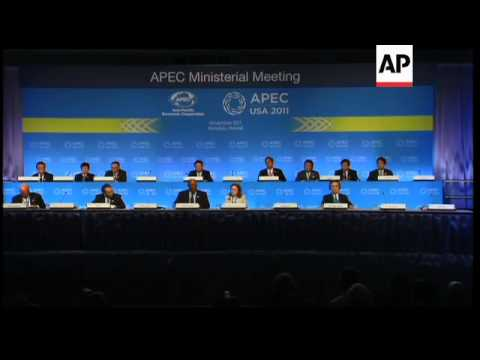 APEC trade ministers' news conference, Malaysian PM, demo