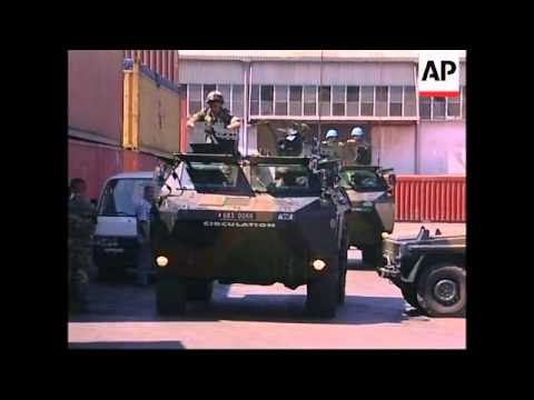 French troops unloading in Beirut port