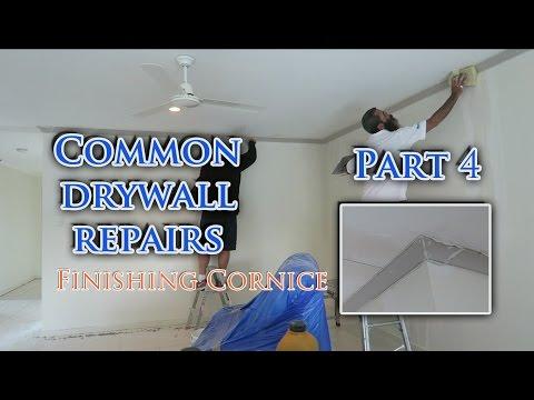 Repair Drywall Sheetrock Plasterboard Install Cornice Part 4