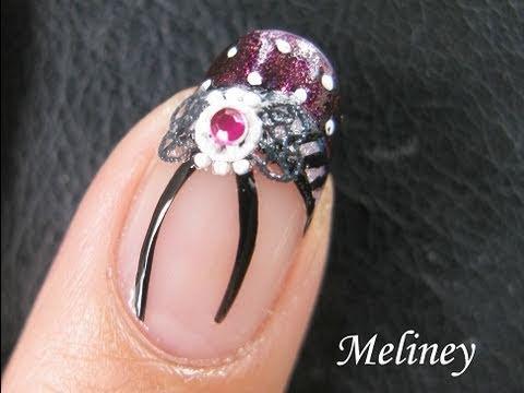 Nail Art Tutorial - Gothic Lolita Fantasy French Tip Bow Tie Nail Sticker rhinestone Manicure Design