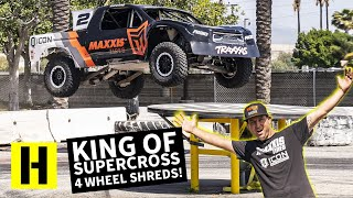 Jeremy McGrath Hucks a 850hp Pro2 Truck Into The Burnyard!