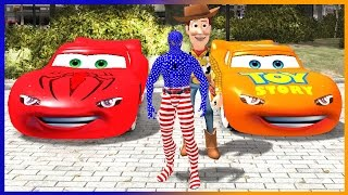 Superhero Movie Toy Story Woody and Spiderman Disney Cars Colors Lightning McQueen