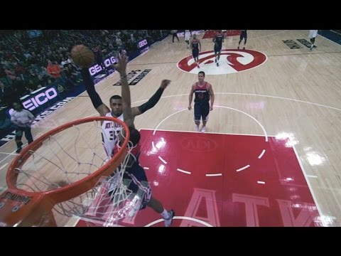 Mike Scott poster dunk over Bradley Beal: Washington Wizards at Atlanta Hawks
