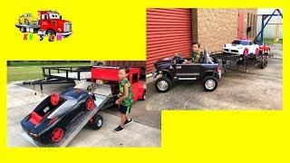 Kruz Showing His Custom Built Trailers and Mini Rollback Truck